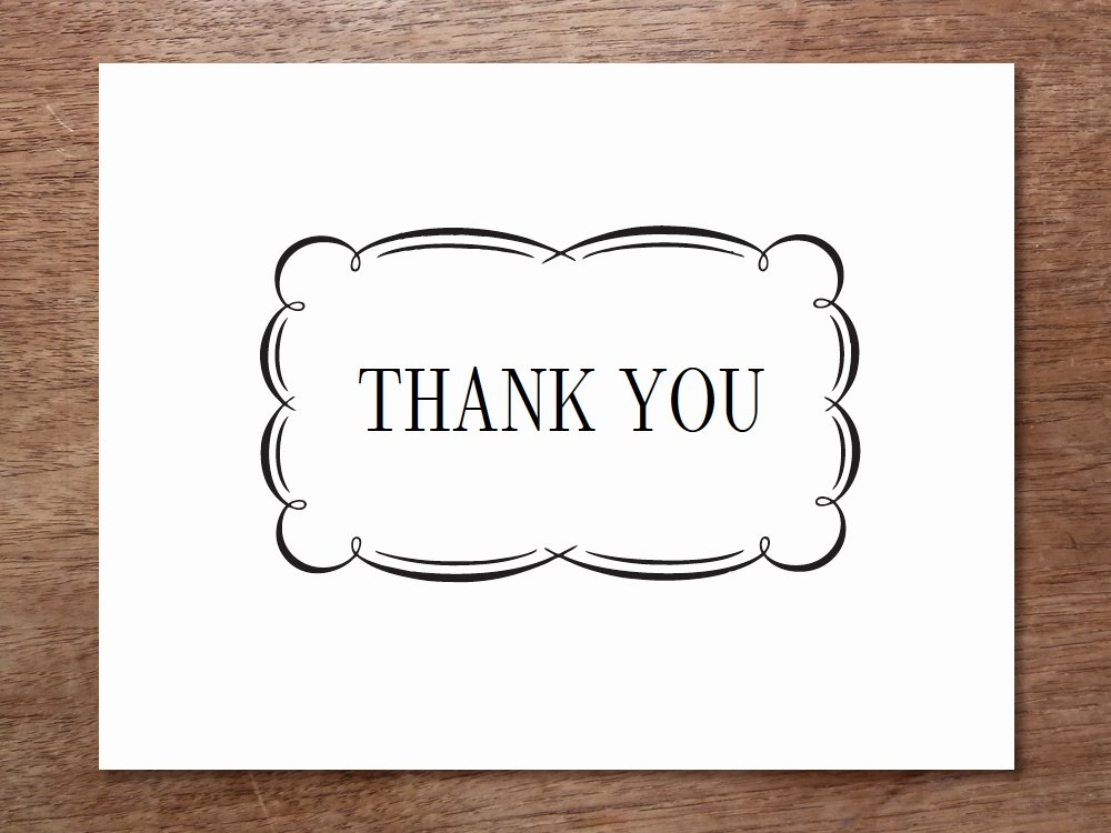 Printable Thank You Cards Black and White Free Clipart