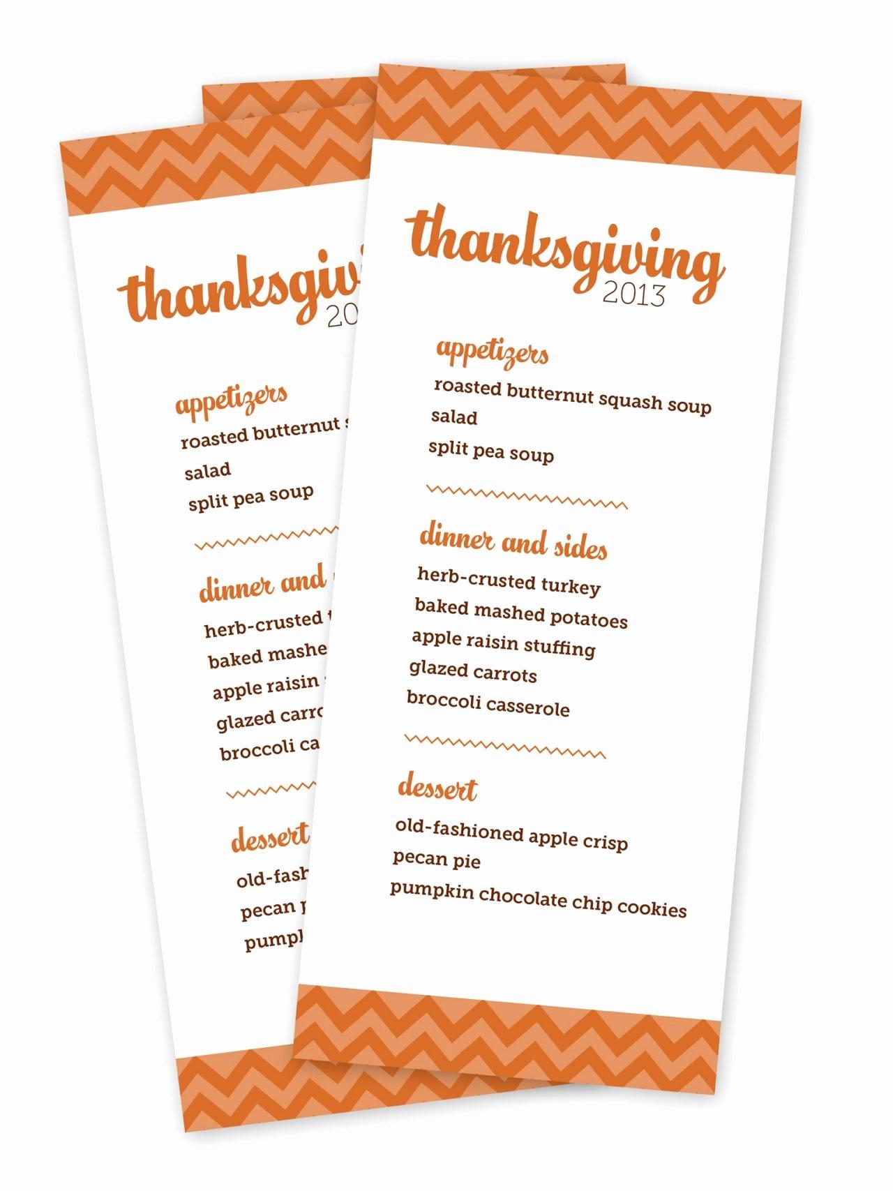 Printable Thanksgiving Menu Templates for Free – Happy
