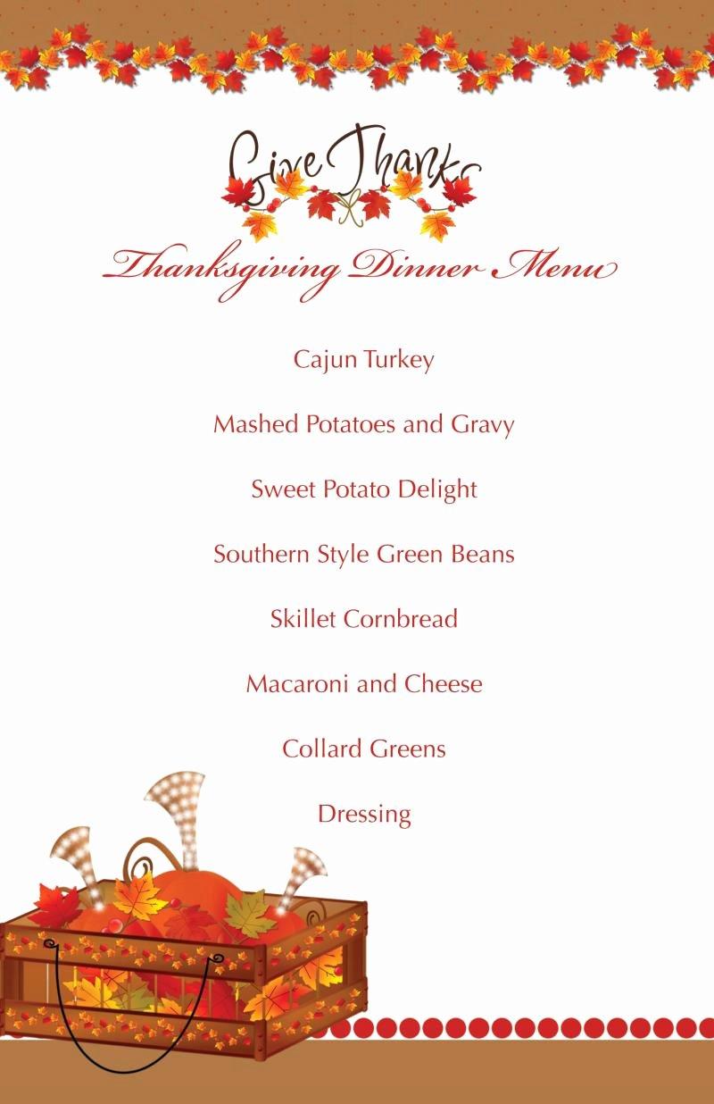 Printable Thanksgiving Splendor Menu