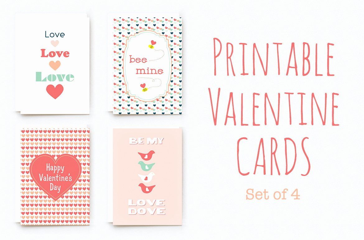 Printable Valentine Cards Card Templates On Creative Market