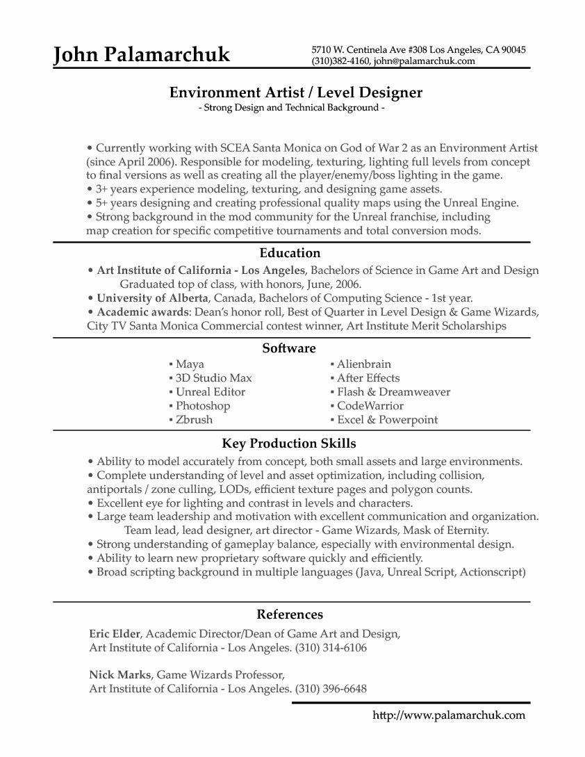 Printable Video Game Design Resume Template Customize