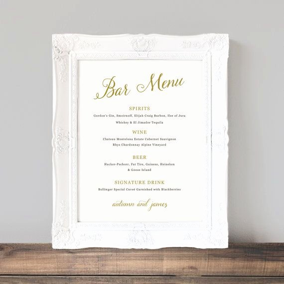Printable Wedding Bar Menu Template Wedding Bar Sign