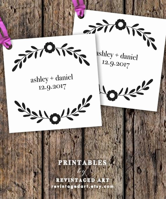 Printable Wedding Favor Tag Template Editable by