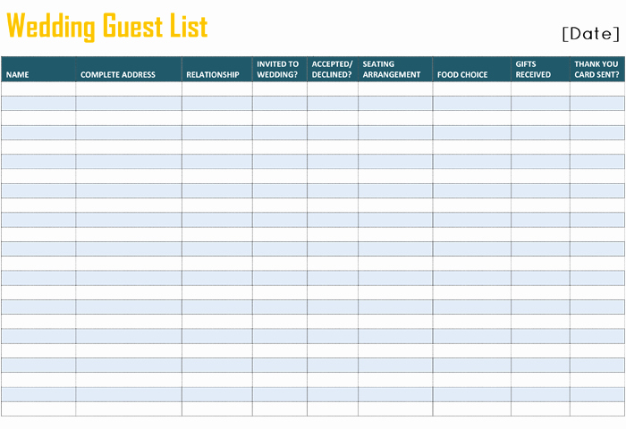 Printable Wedding Guest List Template for Word and Excel