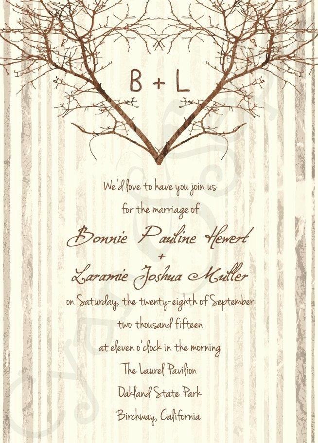 Printable Wedding Invitation 5x7 Branch Heart Tree
