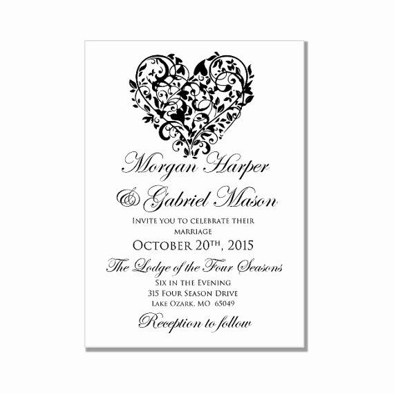 "Printable Wedding Invitation ""heart"" Diy Wedding"
