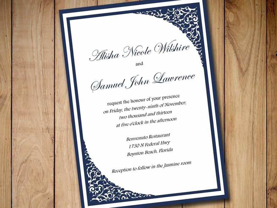 Printable Wedding Invitation Template Download Dark Navy