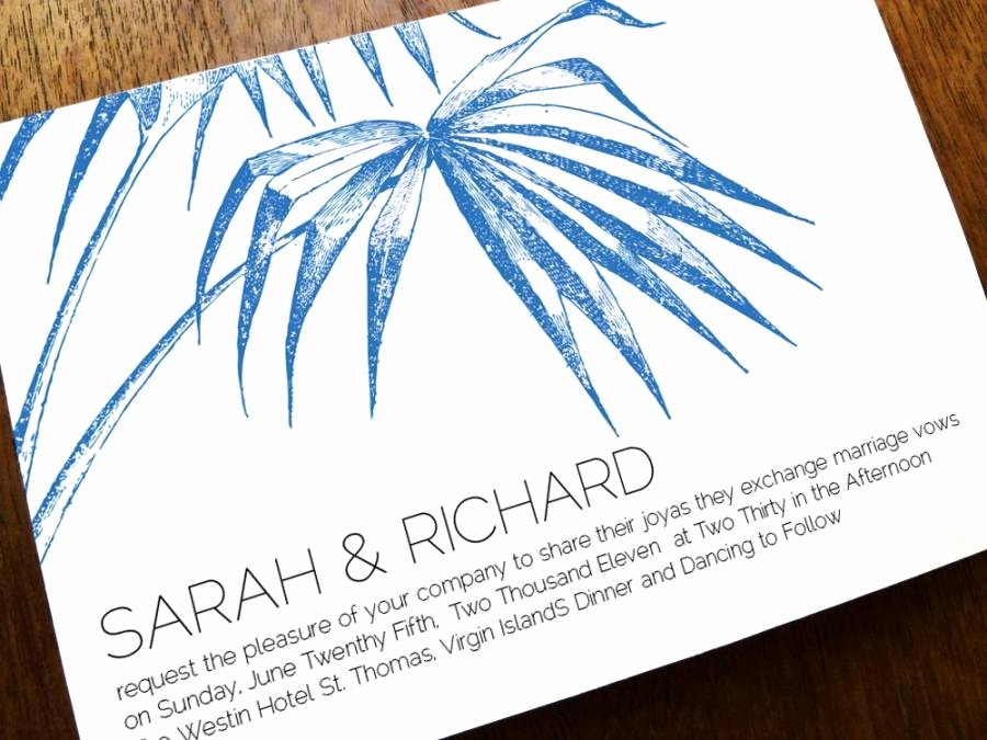 Printable Wedding Invitation Template Palm Navy Palm