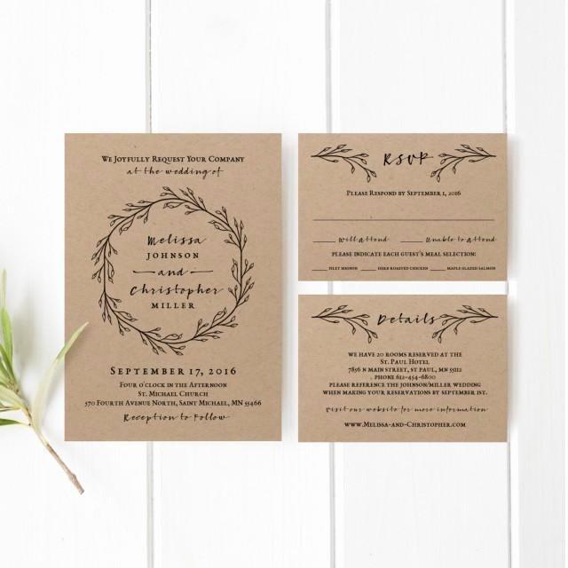 Printable Wedding Invitation Template Set Weddbook