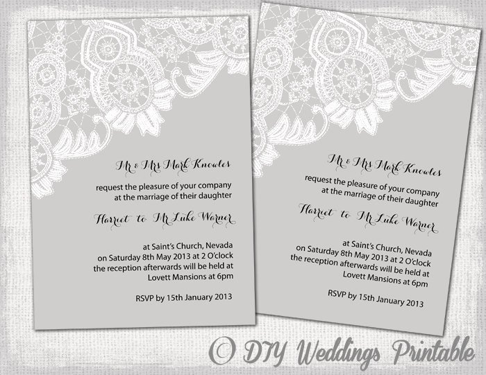 Printable Wedding Invitations Template Editable Gray