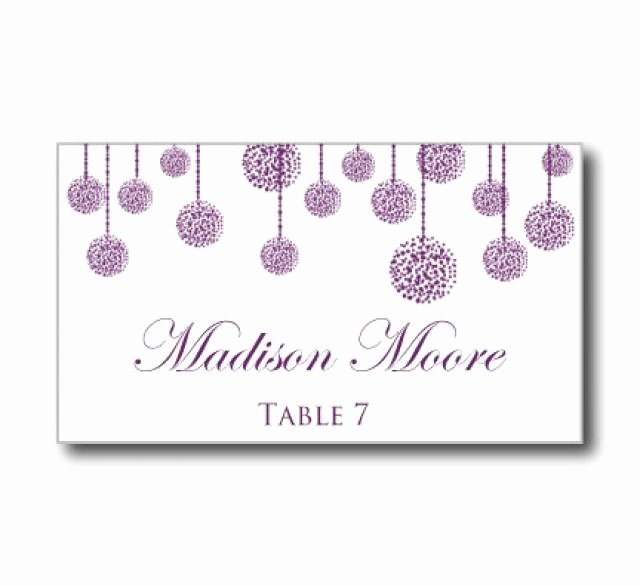 "Printable Wedding Place Card Template ""purple Wedding"
