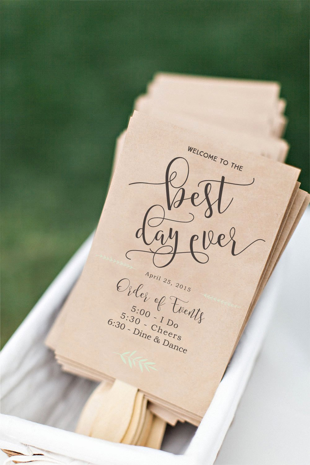 printable wedding program fan diy