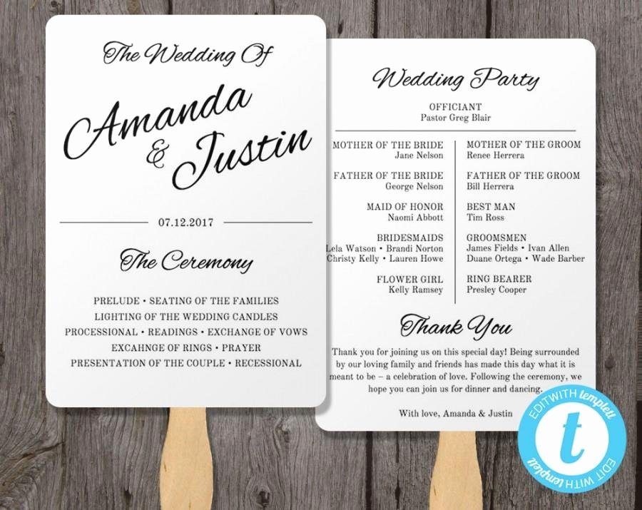 Printable Wedding Program Fan Template Fan Wedding