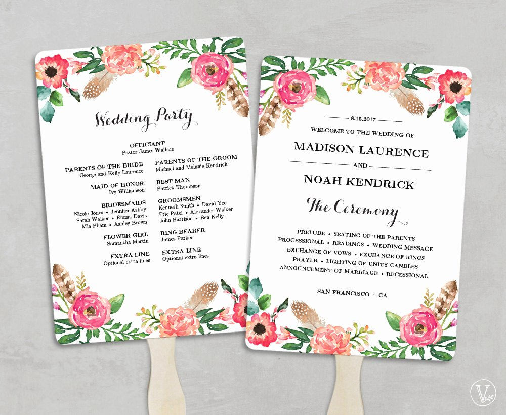 Printable Wedding Program Fan Template Fan Wedding Programs