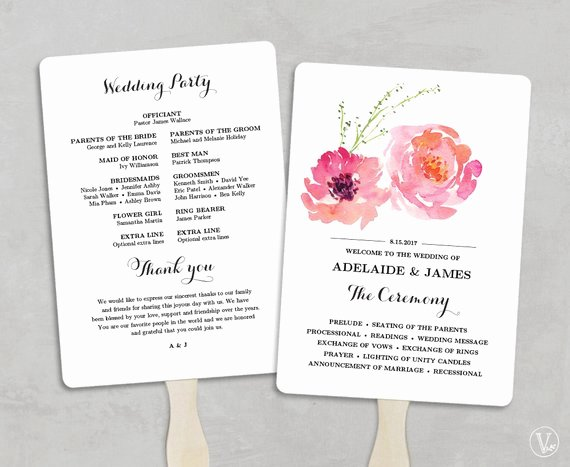 Printable Wedding Program Fan Template Wedding Fans Diy