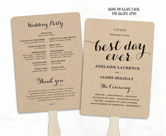Printable Wedding Program Template Fan Wedding Program Diy