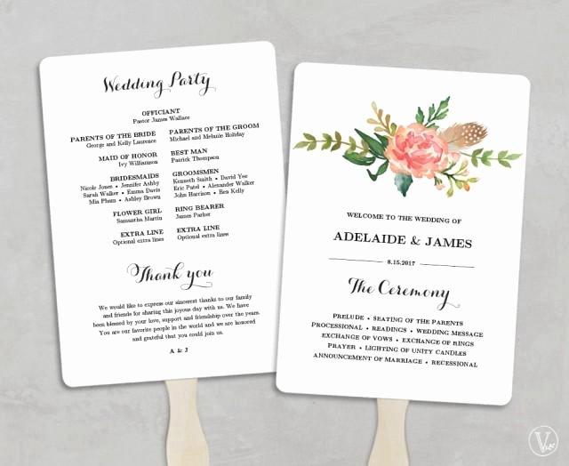 Printable Wedding Program Template Fan Wedding Programs