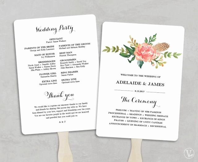 Printable Wedding Program Template Fan Wedding Programs