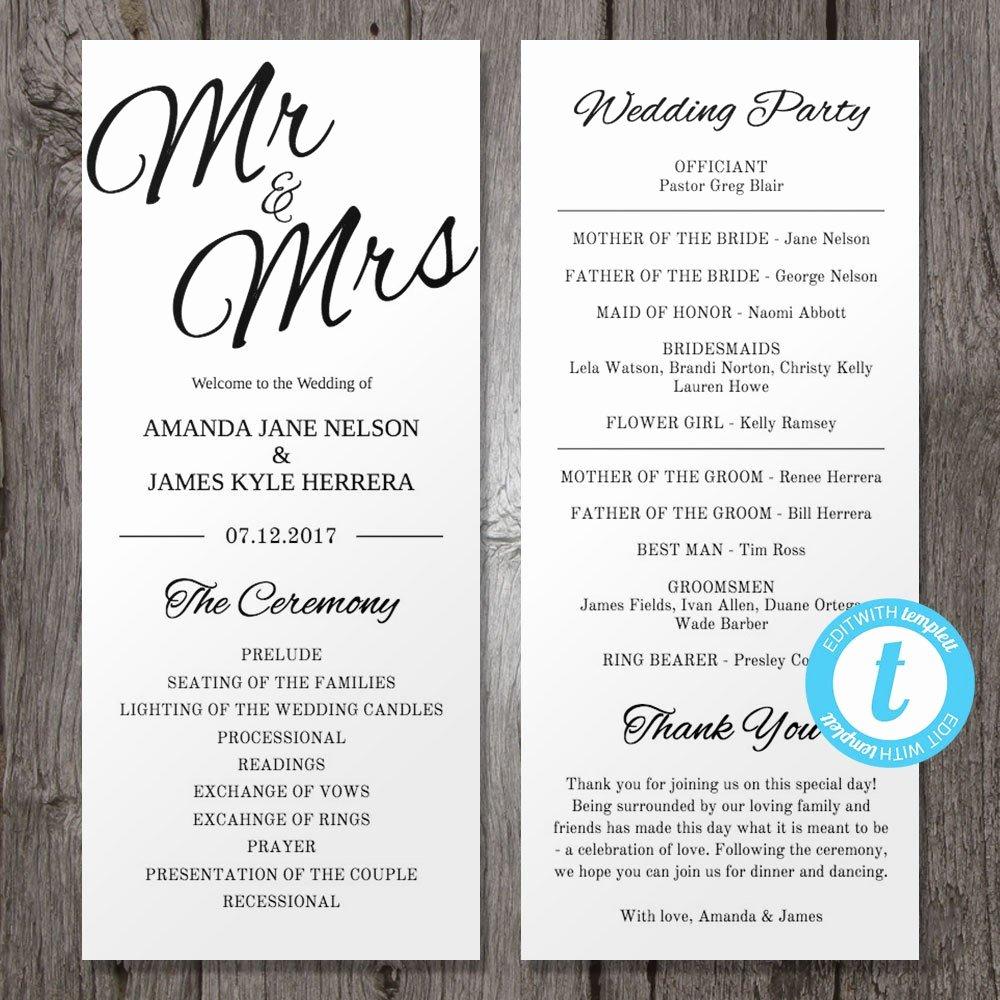 Printable Wedding Program Template Mr & Mrs Instant Download
