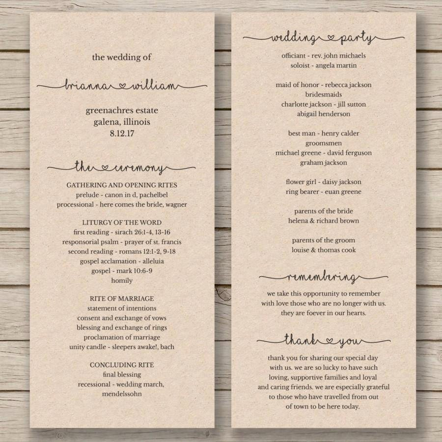 Printable Wedding Program Template order Service