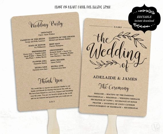 Printable Wedding Program Template Rustic Wedding Fan