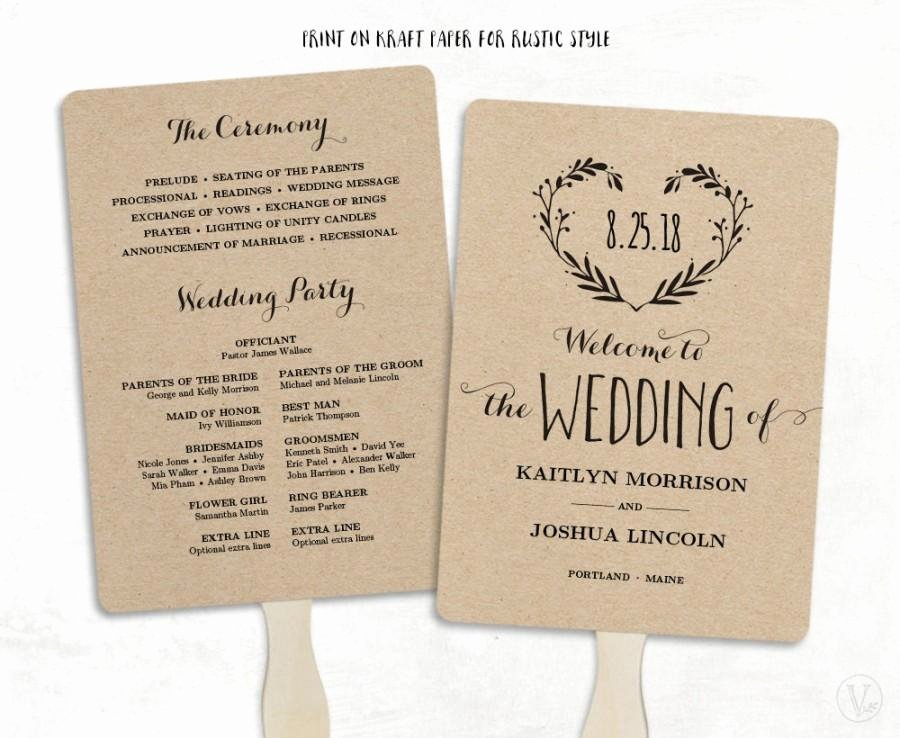 Printable Wedding Program Template Wedding Fan Programs