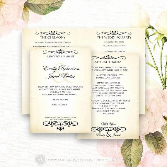 Printable Wedding Programs Editable Half Fold Template