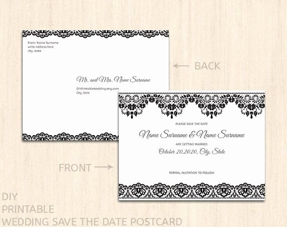 Printable Wedding Save the Date Postcard Template