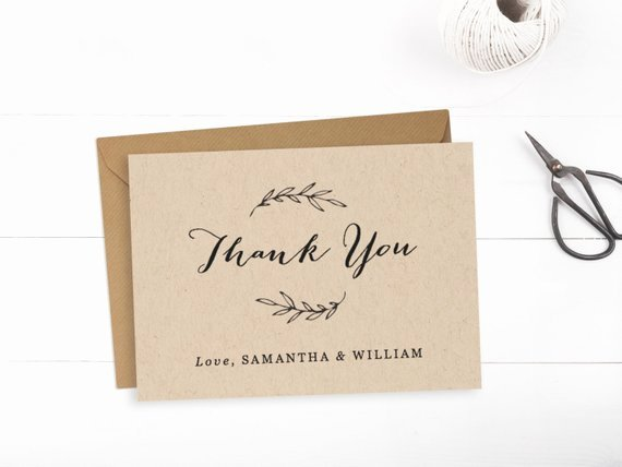 Printable Wedding Thank You Card Template Editable Text and
