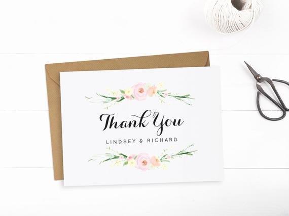 Printable Wedding Thank You Card Template Editable Text and