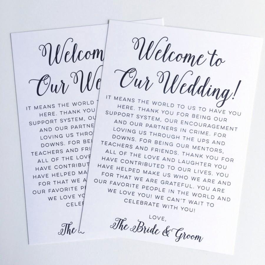 Printable Wedding Wel E Letter Instant Download