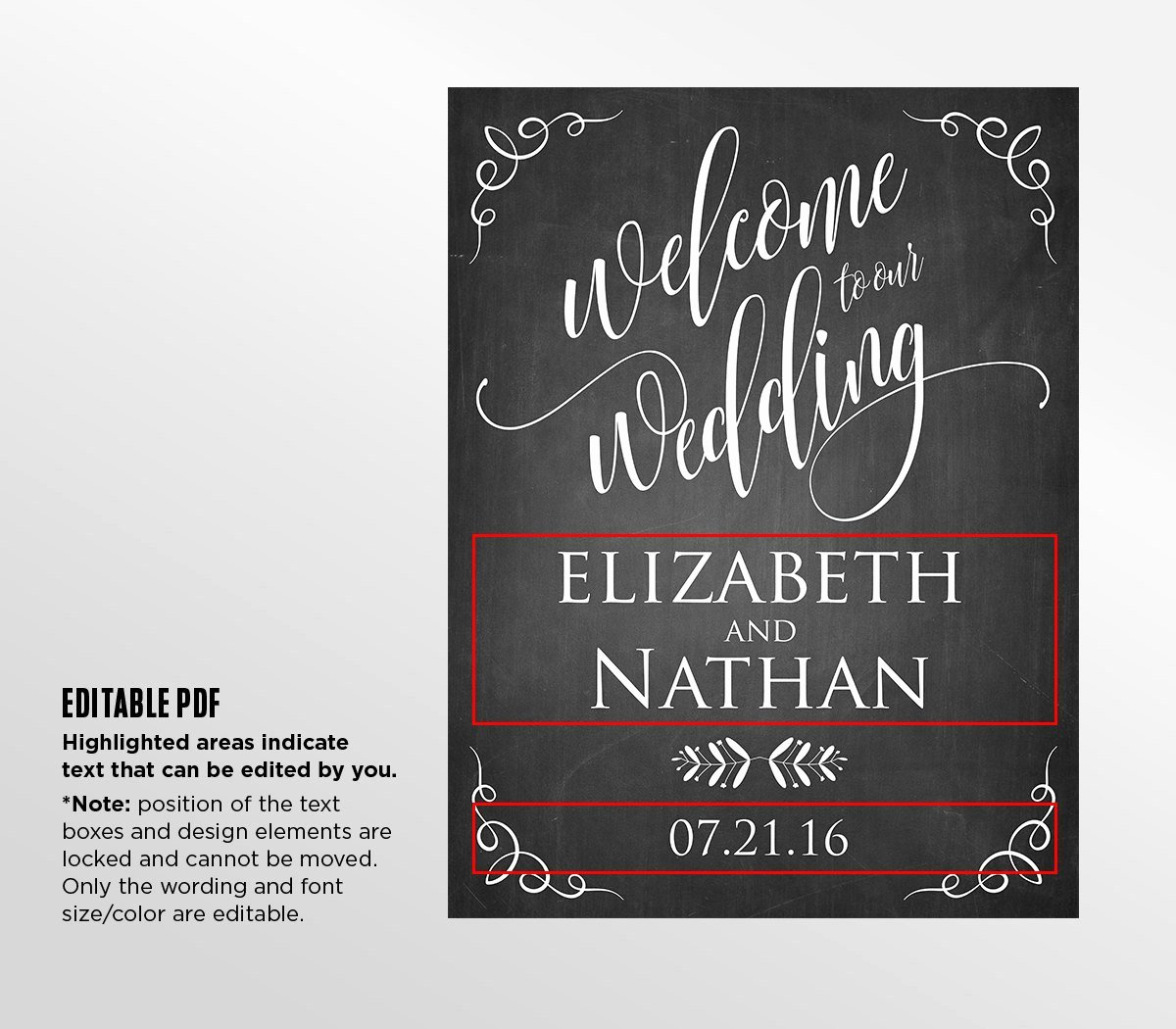 Printable Wedding Wel E Sign Template Rustic Chalkboard