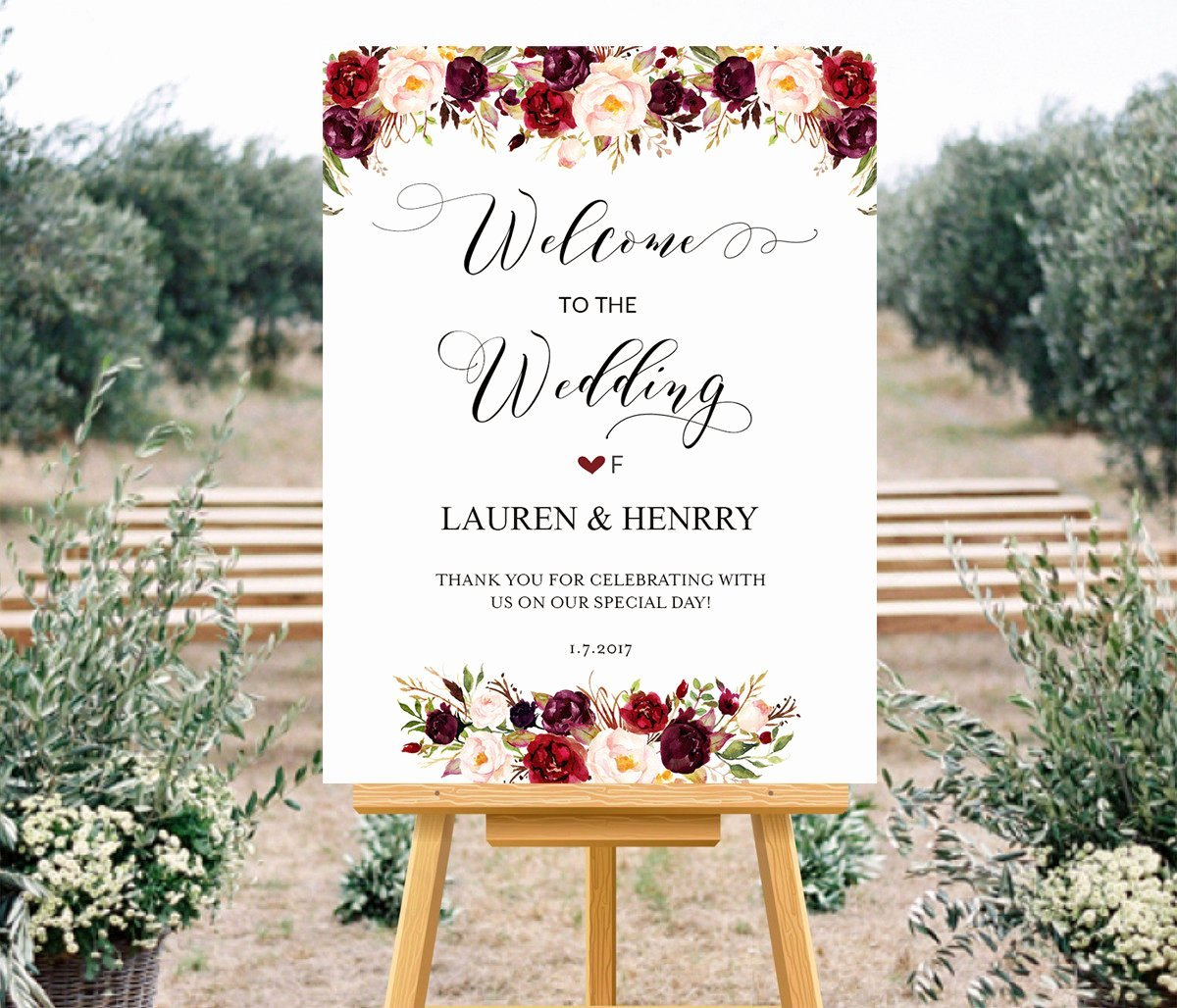 Printable Wedding Wel E Sign Templates Floral Wedding Sign