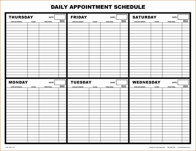 Printable Weekly Appointment Calendar 10 Daily Schedule