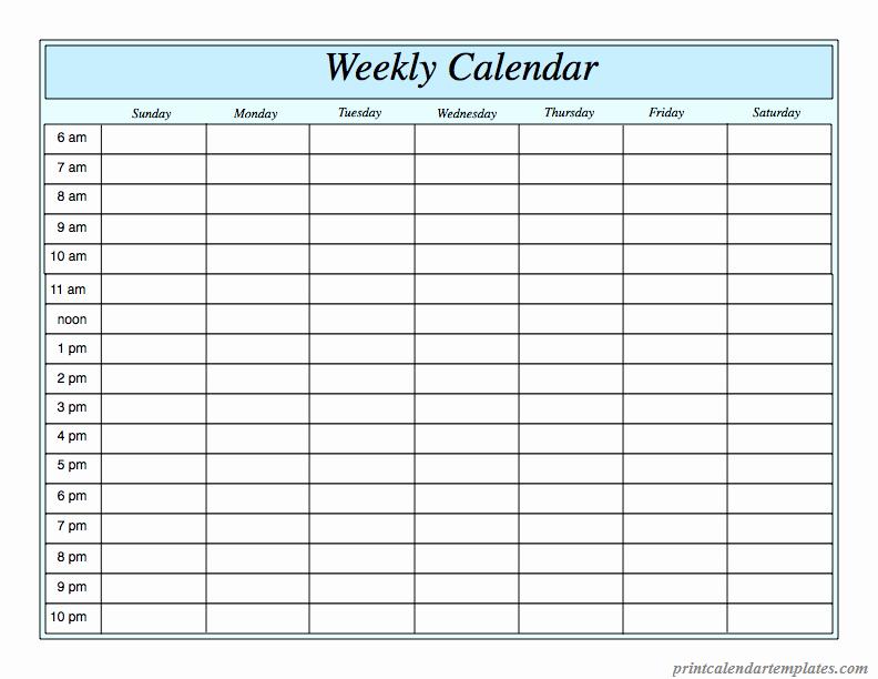 Printable Weekly Calendar 2018