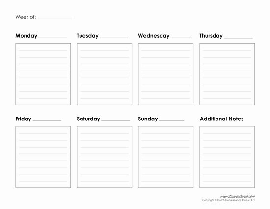 Printable Weekly Calendar Template Free Blank Pdf