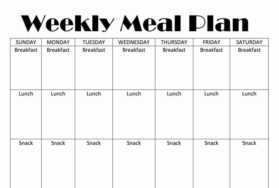 Printable Weekly Meal Plan Template