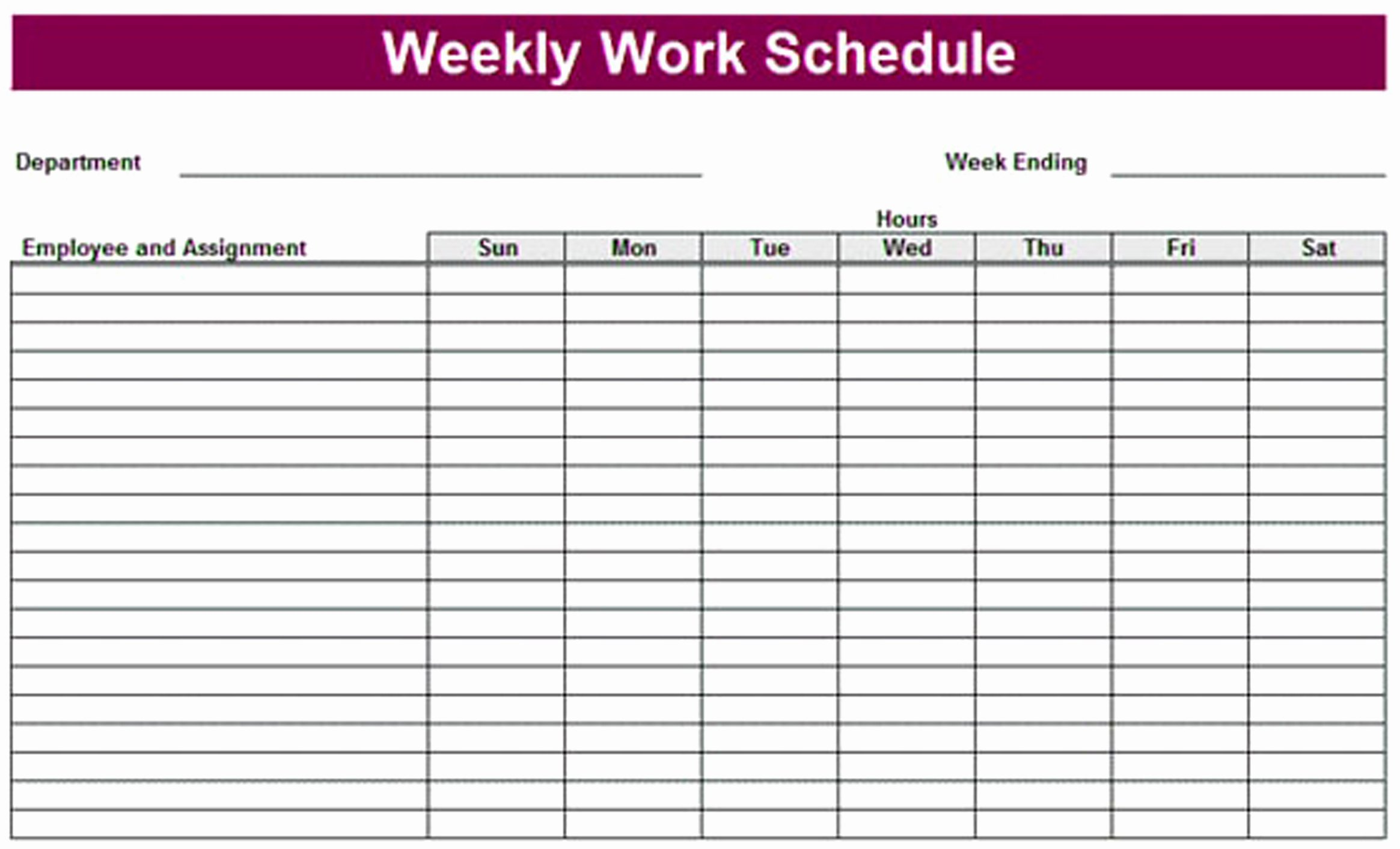 Printable Weekly Schedule Template & Excel Planner
