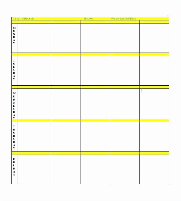 Printable Weekly Teacher Planner Plans for Teachers Lesson