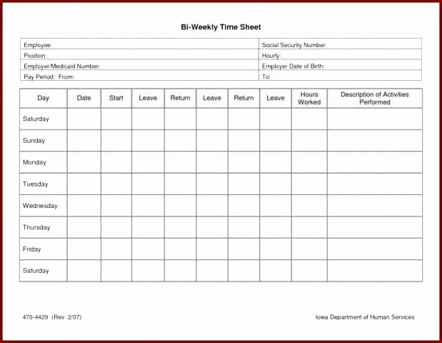 Printable Weekly Time Card Template Employee Sheet