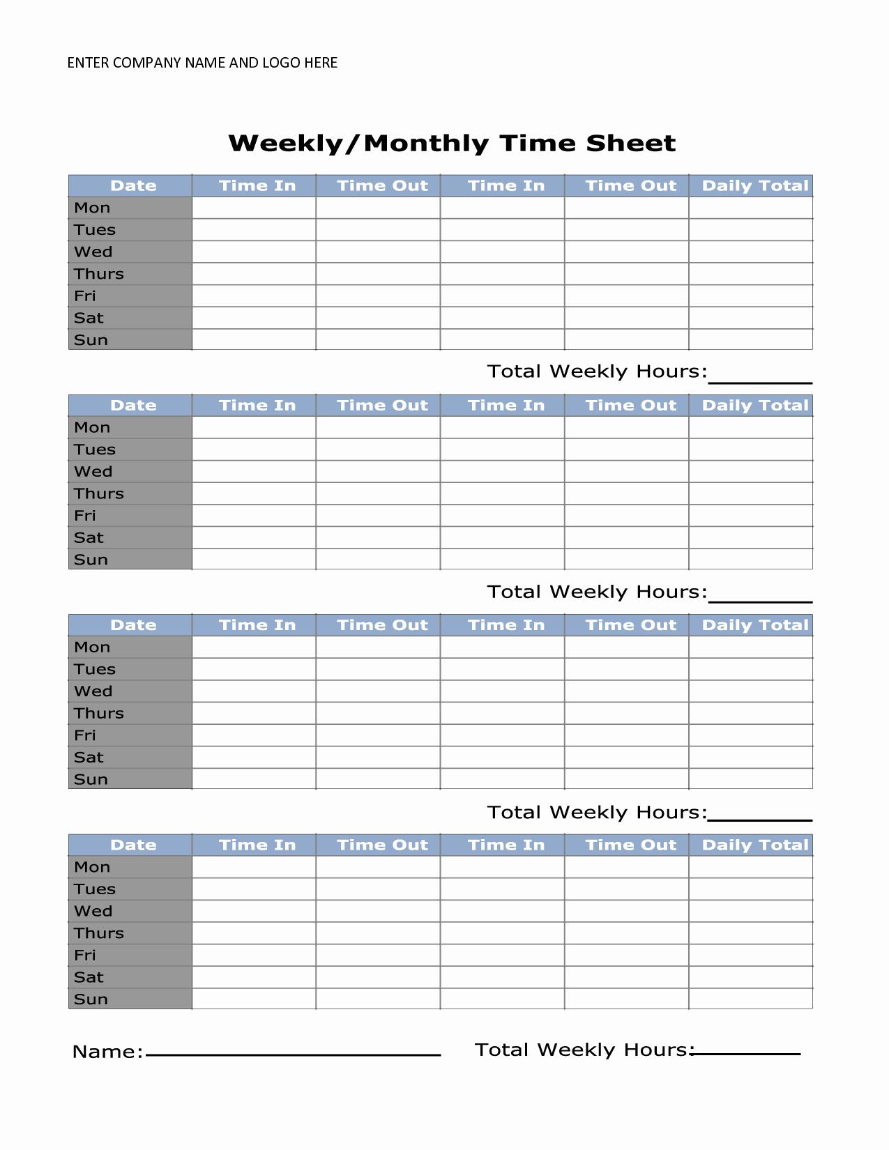 Printable Weekly Timesheet Template Uma Printable