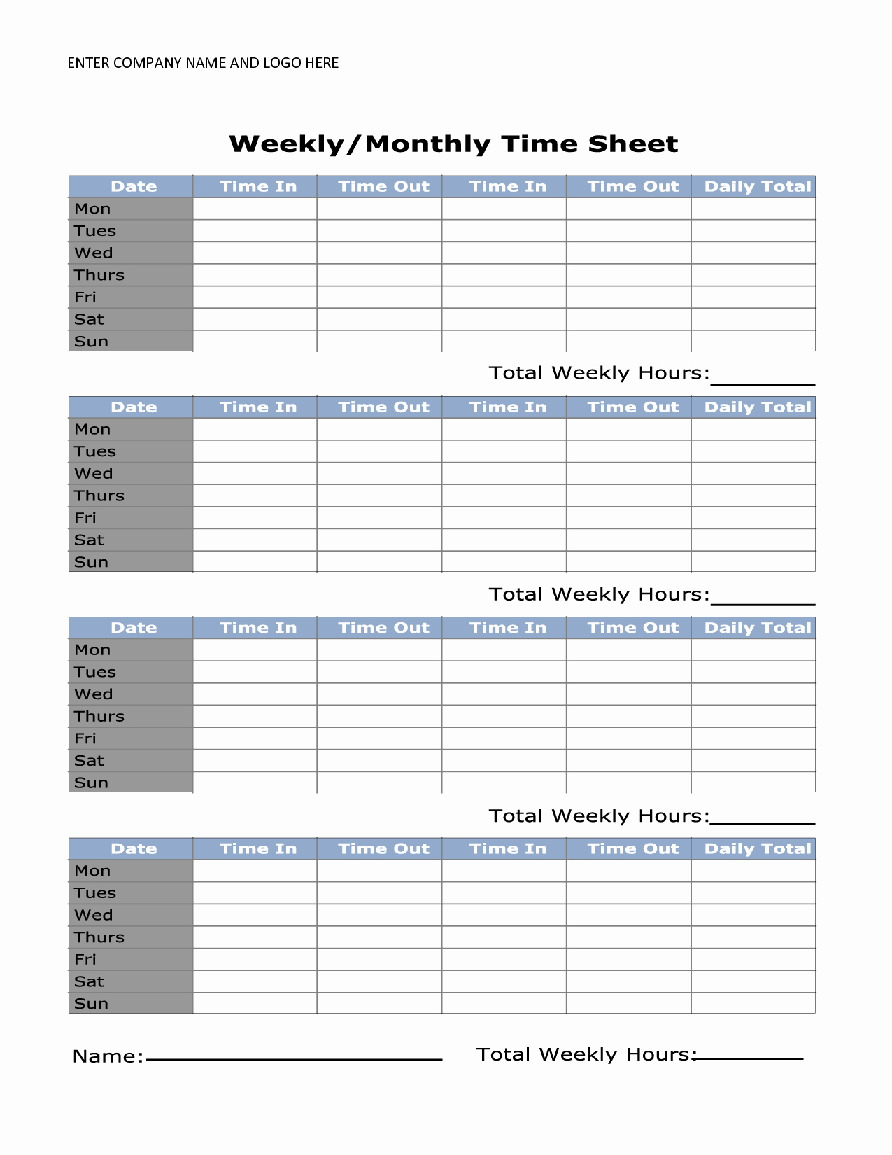 Printable Weekly Timesheet Template Uma Printable