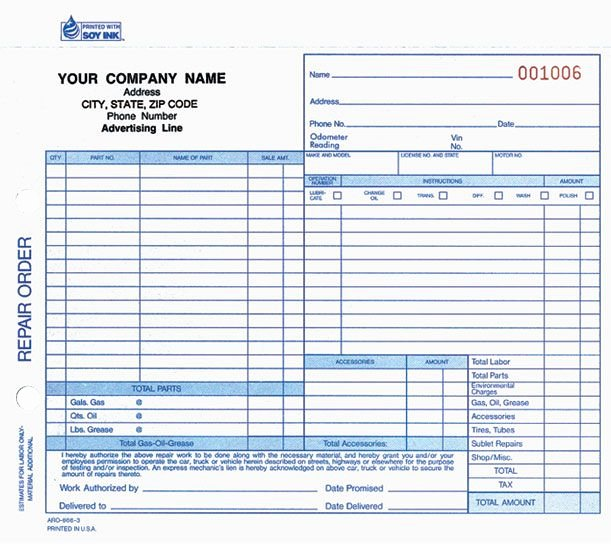 Printable Work order forms