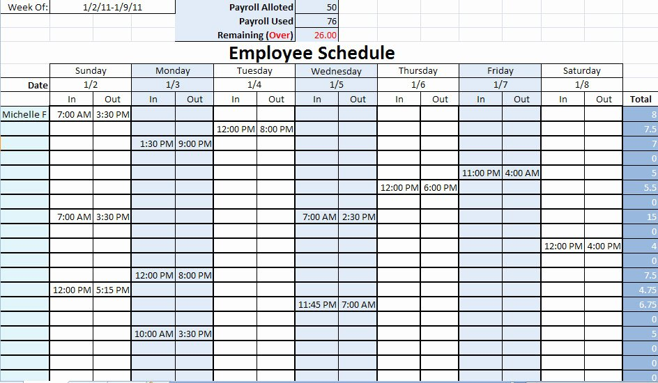 Printable Work Schedule