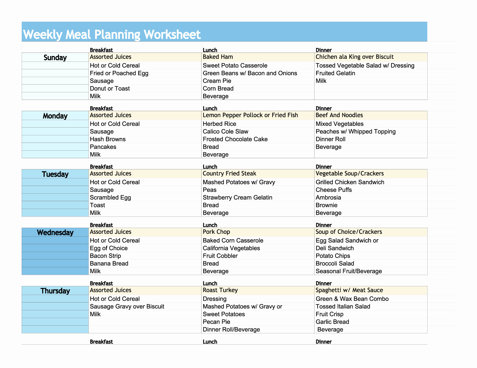 Printables Diabetic Meal Planning Worksheet Mywcct