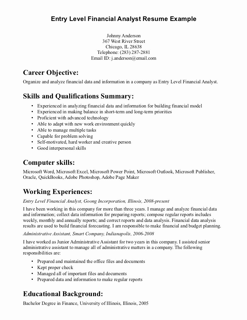 Private Banking Resumes Template Business Career Objective