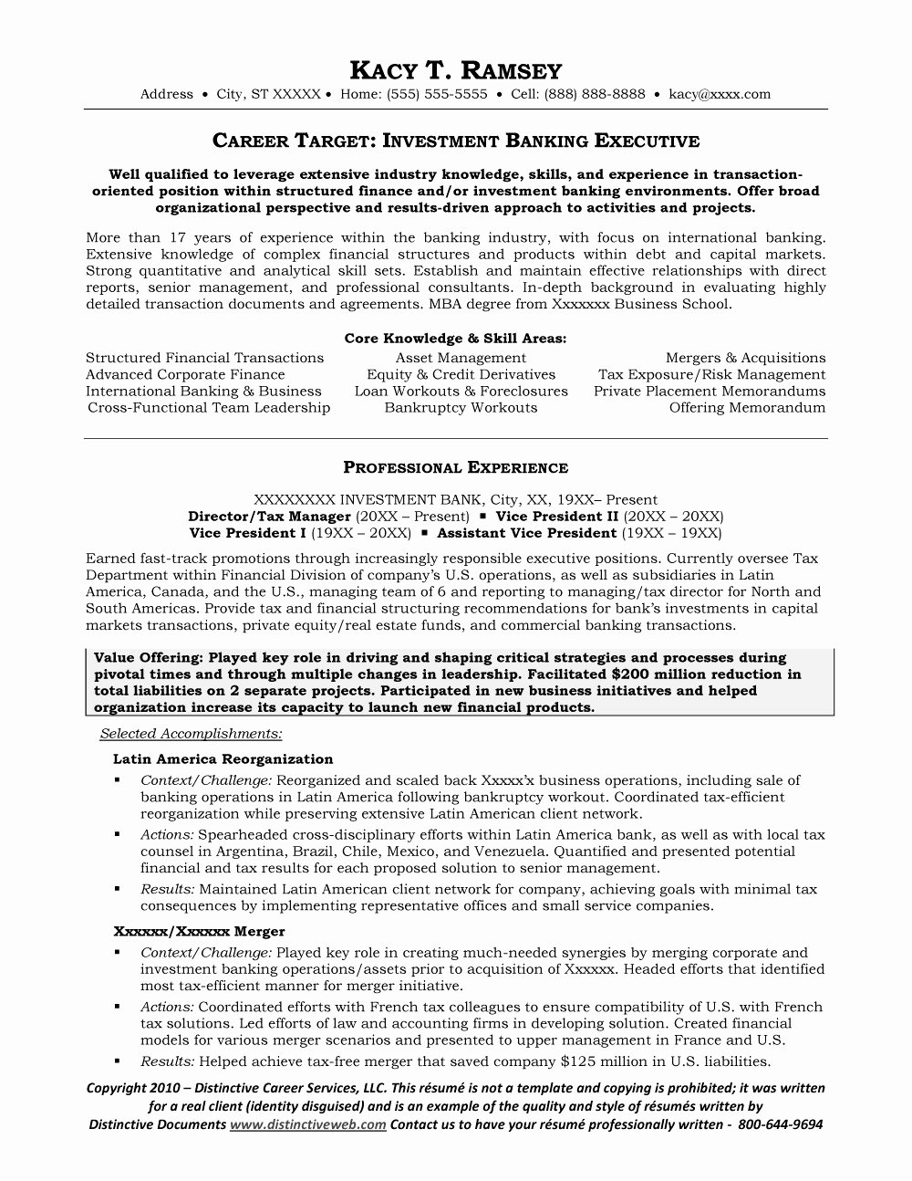 Private Equity Resume