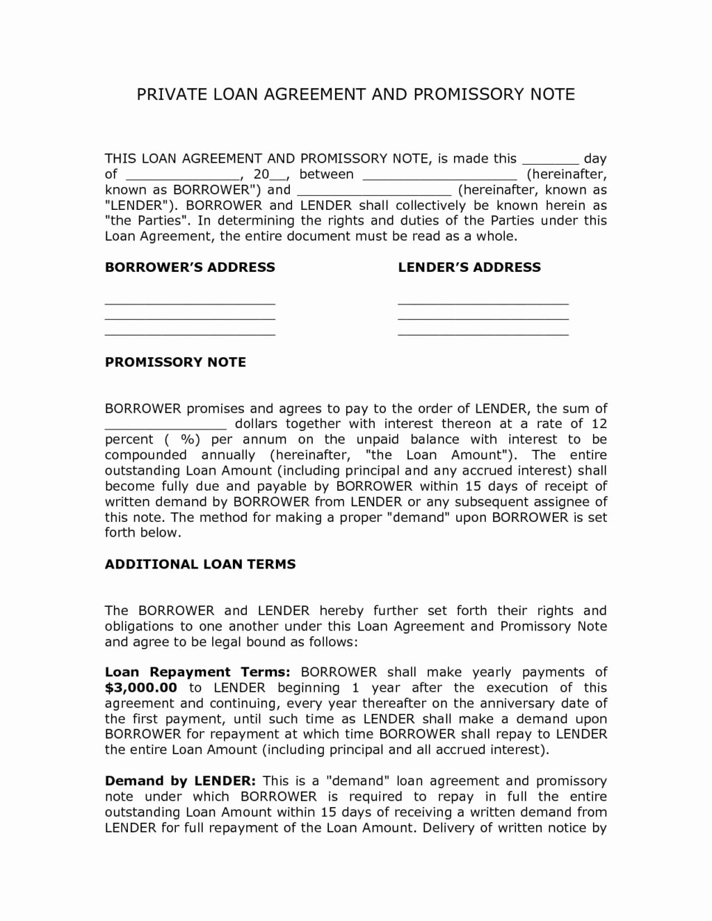 Private Personal Loan Agreement Contract Template and