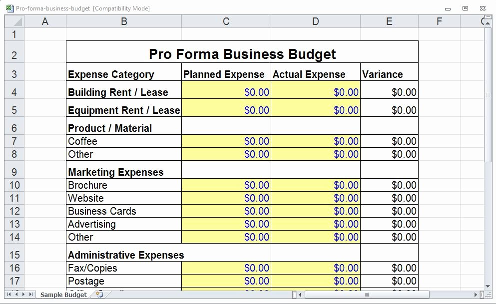 Pro forma Business Template