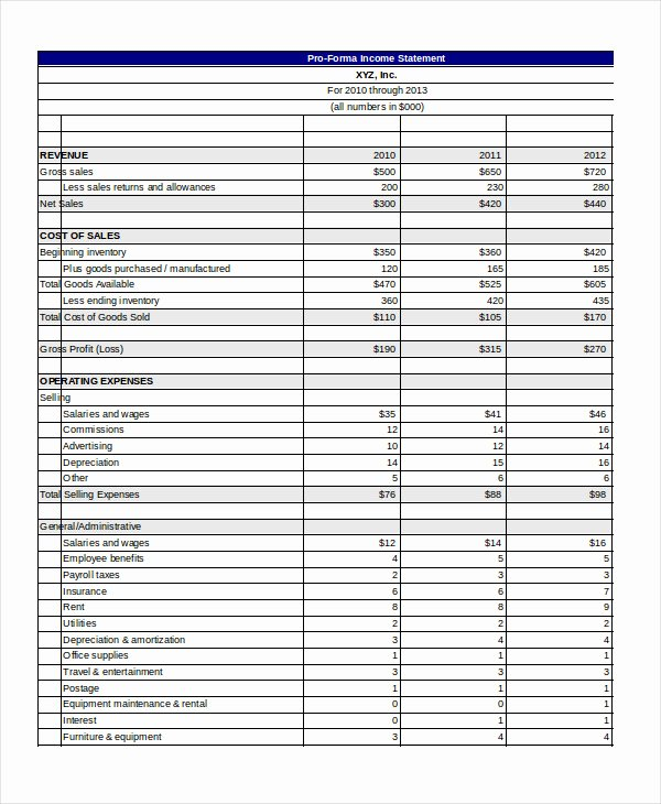 Pro forma Excel Template 10 Free Excel Documents